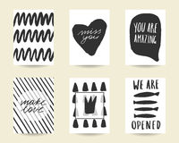 Cute hand drawn doodle black stylish birthday cards. Cute hand drawn doodle black stylish birthday, party, baby shower cards, brochures, invitations with heart Stock Photography