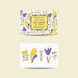 Cute hand drawn doodle business card with flowers Stock Photo