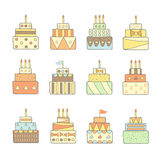 Cute hand drawn doodle cakes set. Royalty Free Stock Photo
