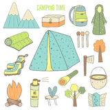 Cute hand drawn doodle camping objects Stock Image