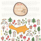 Cute hand drawn doodle card, brochure, cover with orange fox, trees, flowers Royalty Free Stock Images