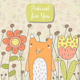 Cute hand drawn doodle card, brochure, cover with orange fox Stock Photos