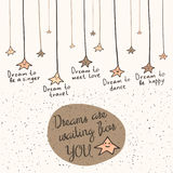Cute hand drawn doodle card, brochure, postcard with dream stars stock illustration
