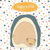 Cute hand drawn doodle card, cover with bear Stock Photography