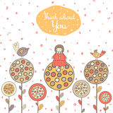 Cute hand drawn doodle card, cover with girl Royalty Free Stock Images