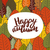 Cute hand drawn doodle card, postcard with autumn leaves Royalty Free Stock Photos