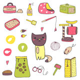 Cute hand drawn doodle cat stuff royalty free illustration