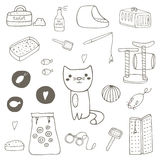 Cute hand drawn doodle cat stuff Stock Images