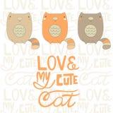 Cute hand drawn doodle cats Stock Photos
