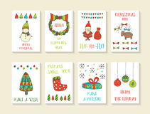 Cute hand drawn doodle Christmas cards Stock Photo