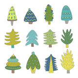 Cute hand drawn doodle christmas trees Stock Photo