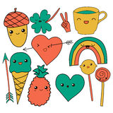 Cute hand drawn doodle collection vector illustration coffee, arrow, ice cream, heart, rainbow, clover, love, acorn Royalty Free Stock Images