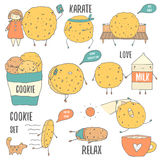 Cute hand drawn doodle cookies characters set Royalty Free Stock Images