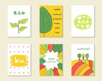 Cute hand drawn doodle eco, bio, nature cards. Brochures, invitations leaf, plant, banner, trees, hills, abstract elements Cartoon objects background Printable Royalty Free Stock Photography