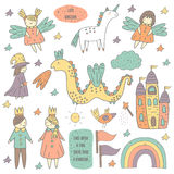 Cute hand drawn doodle fairy tale objects collection Royalty Free Stock Image