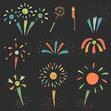 Cute hand drawn doodle firework collection. For new year and other holidays. Colorful firework icon, banner Royalty Free Stock Images