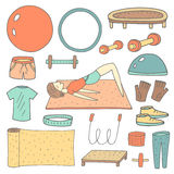 Cute hand drawn doodle fitness objects set Stock Images