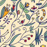 Cute hand drawn doodle floral background. Cute hand drawn doodle floral seamless pattern Royalty Free Stock Image
