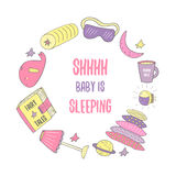 Cute hand drawn doodle frame with night, sleep theme objects Stock Photos