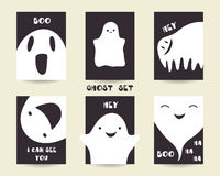 Cute hand drawn doodle ghosts set Stock Images