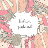 Cute hand drawn doodle girl fashion postcard Stock Images