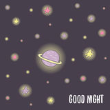 Cute hand drawn doodle good night postcard. Card, cover with saturn planet and stars. Cosmic background Royalty Free Stock Photography
