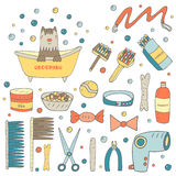 Cute hand drawn doodle grooming objects collection Royalty Free Stock Images