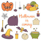 Cute hand drawn doodle halloween objects Royalty Free Stock Photo