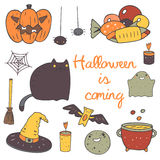 Cute hand drawn doodle halloween objects collection Royalty Free Stock Photography