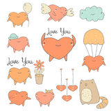 Cute hand drawn doodle heart characters collection Stock Image