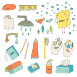 Cute hand drawn doodle hygiene objects collection Royalty Free Stock Image