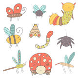 Cute hand drawn doodle insects collection Stock Images