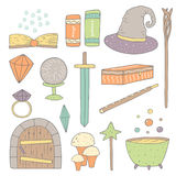 Cute hand drawn doodle magic objects collection Royalty Free Stock Photography