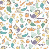 Cute hand drawn doodle mermaid fairy tale seamless pattern Royalty Free Stock Photography