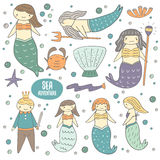 Cute hand drawn doodle mermaids collection Royalty Free Stock Image