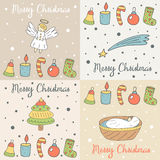 Cute hand drawn doodle merry Christmas cards Royalty Free Stock Photography