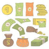 Cute hand drawn doodle money collection. Including dollar, euro, coins, bag with money, purse, money pack, atm machine Stock Photo