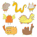 Cute hand drawn doodle monsters Stock Photo