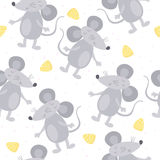 Cute hand drawn doodle mouse seamless pattern Stock Image