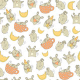 Cute hand drawn doodle mouse seamless pattern Royalty Free Stock Images