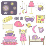 Cute hand drawn doodle night, sleep theme objects collection Stock Images