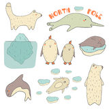 Cute hand drawn doodle north pole animals Royalty Free Stock Photos