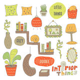 Cute hand drawn doodle objects for interior design Royalty Free Stock Images