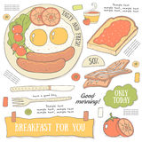 Cute hand drawn doodle page with breakfast food. Royalty Free Stock Image
