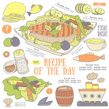 Cute hand drawn doodle page with fish steak recipe. Food collection including lemon, sauce, salt, pepper, cucumber, lettuce, olive, barrel. Postcard, cover Royalty Free Stock Photography
