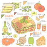 Cute hand drawn doodle page with lasagne recipe. Stock Photography