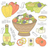 Cute hand drawn doodle page with salad. Stock Images