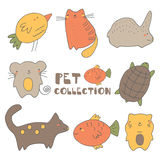 Cute hand drawn doodle pets collection Stock Photo