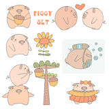 Cute hand drawn doodle pigs collection. Including pig with acorn, boy and girl pig, pig with flower, pig under water, pig in dress, pig trying to catch acorn Royalty Free Stock Image