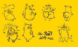 Cute hand drawn doodle pigs collection, pig with flower, pig under water, pig in dress. Animals icons set in cartoon style royalty free illustration
